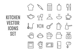 Set of 25 vector line kitchen icons
