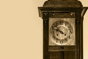 old antique wooden wall clock