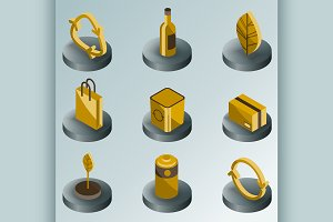 Recycling color isometric icons