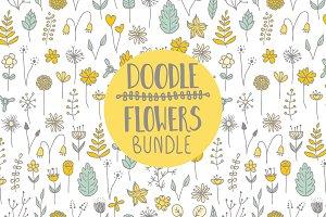 Doodle flowers bundle