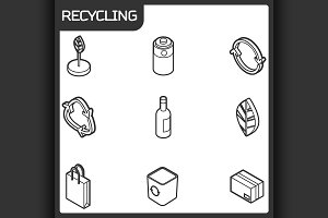 Recycling outline isometric icons