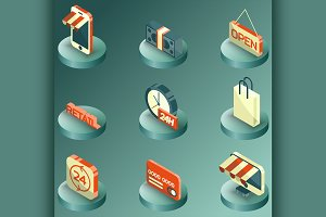 Retail color isometric icons
