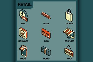 Retail color outline isometric icons