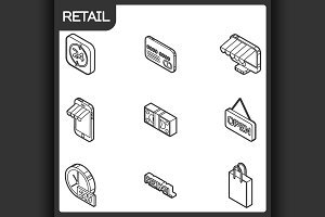 Retail outline isometric icons