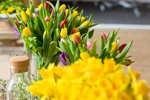 Yellow narcissuses bouquet in a