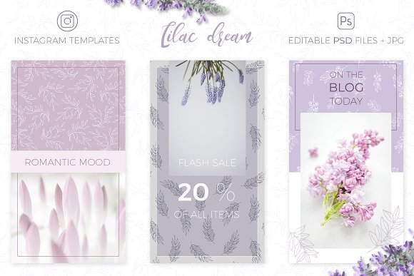 Lilac Dream + Instagram Templates in Patterns - product preview 3