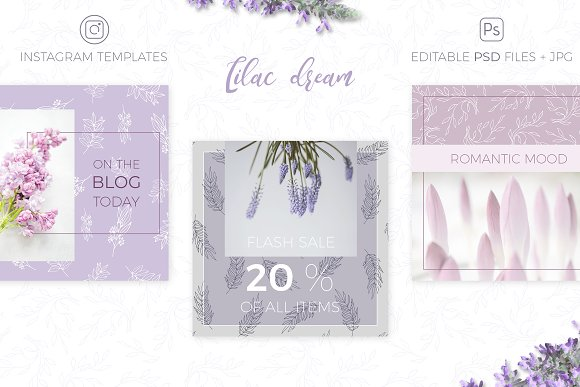Lilac Dream + Instagram Templates in Patterns - product preview 4