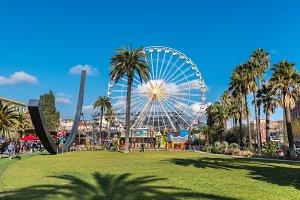 Big carnival fair wheel in Nice,