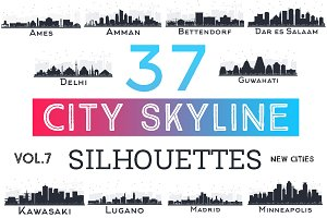 37 City Skyline Silhouettes Set 7