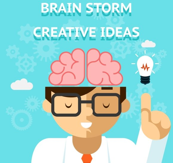 Stationery Concept With Business Cards: Brain Storm Creative Idea Concept