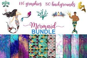 Mermaid BUNDLE graphics + background