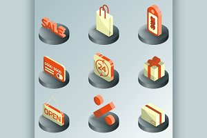 Sale color isometric icons