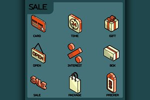 Sale color outline isometric icons