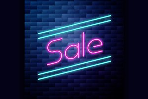 Sale glowing neon sign