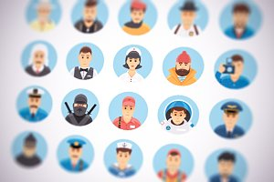 Flat vector persons icons set