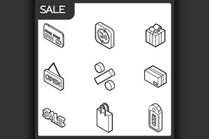 Sale outline isometric icons