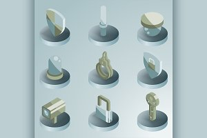Security color isometric icons