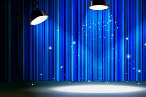 Blue curtain with bright spotlight