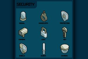 Security color outline isometric