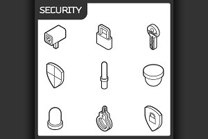 Security outline isometric icons