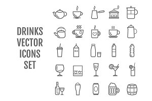 Set of 25 vector line drinks icons