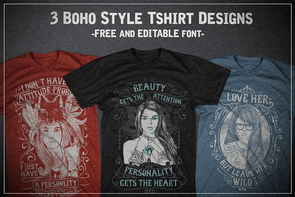 3 Boho Style T-shirt Designs