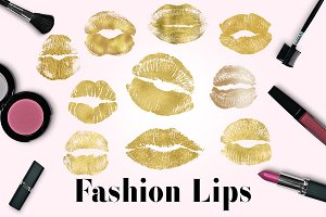 Gold Lips Clipart, Kissing Lips