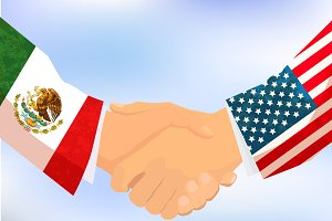 USA and Mexico handshake