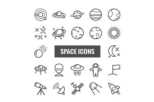 Set of 22 vector line space icons