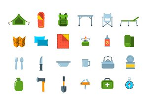 Tourist Hiking Equipment 36 Icons