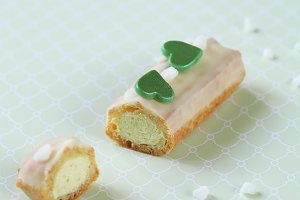 Eclairs with Pistachio Pastry Cream