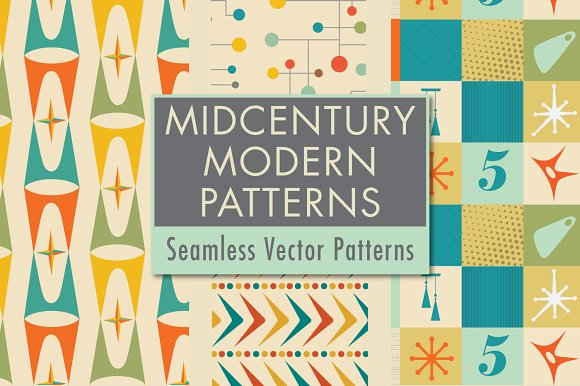 Mid Century Modern Patterns Decor Pre Designed Photoshop Graphics Creative Market