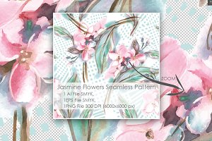 Jasmine Flowers Seamless Pattern