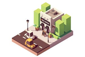Isometric real estate agency office