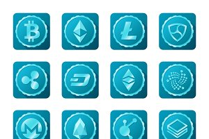 Common crypto currency signs set