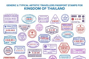 Thailand visa passport stamps set