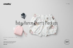Baby Lantern Harem Shorts Mockup Set