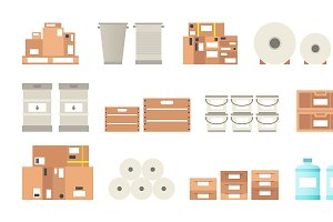 Warehouse packaging types set