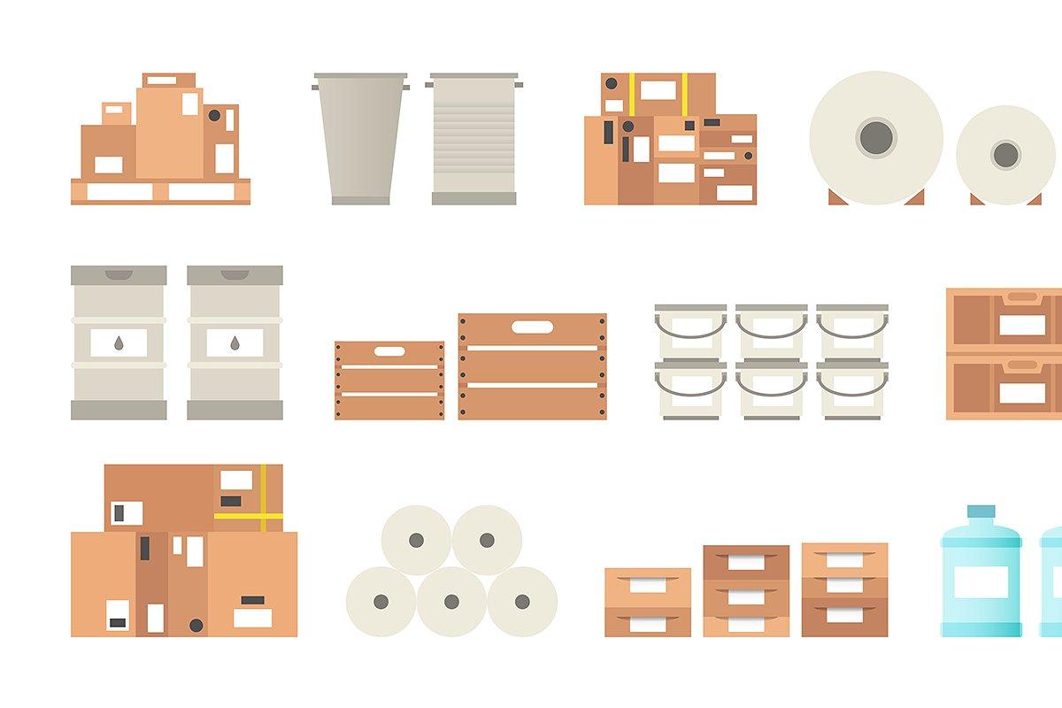 Warehouse packaging types set