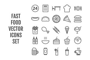 25 vector line fast food icons