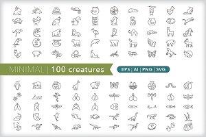 Minimal 100 creature icons