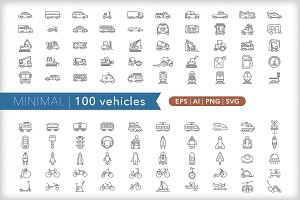 Minimal 100 vehicle icons