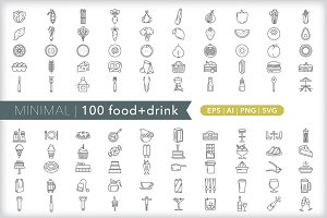 Minimal 100 food + drink icons