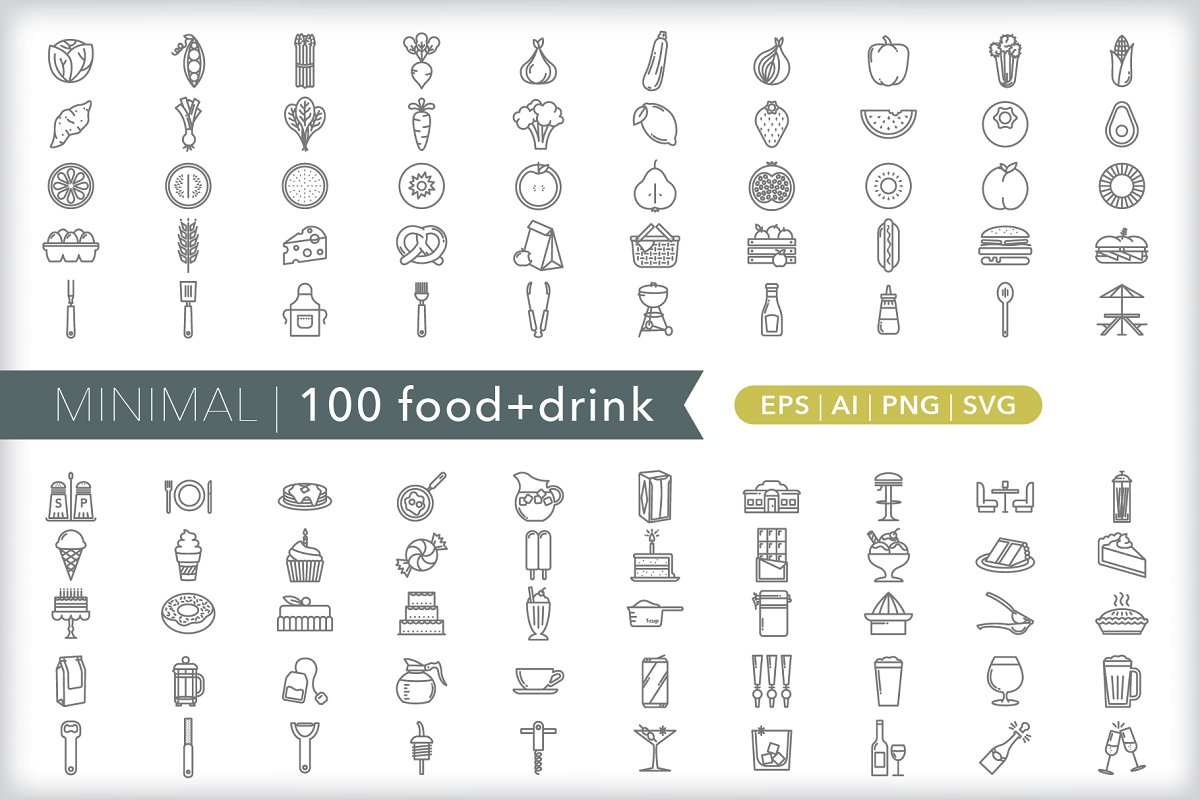 Minimal 100 food + drink icons