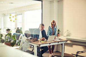 Diverse businesspeople smiling while working together in an office