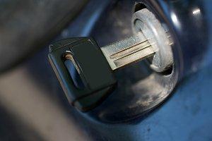 Ignition key closeup