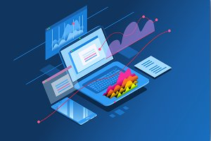 Investment planning isometric icon
