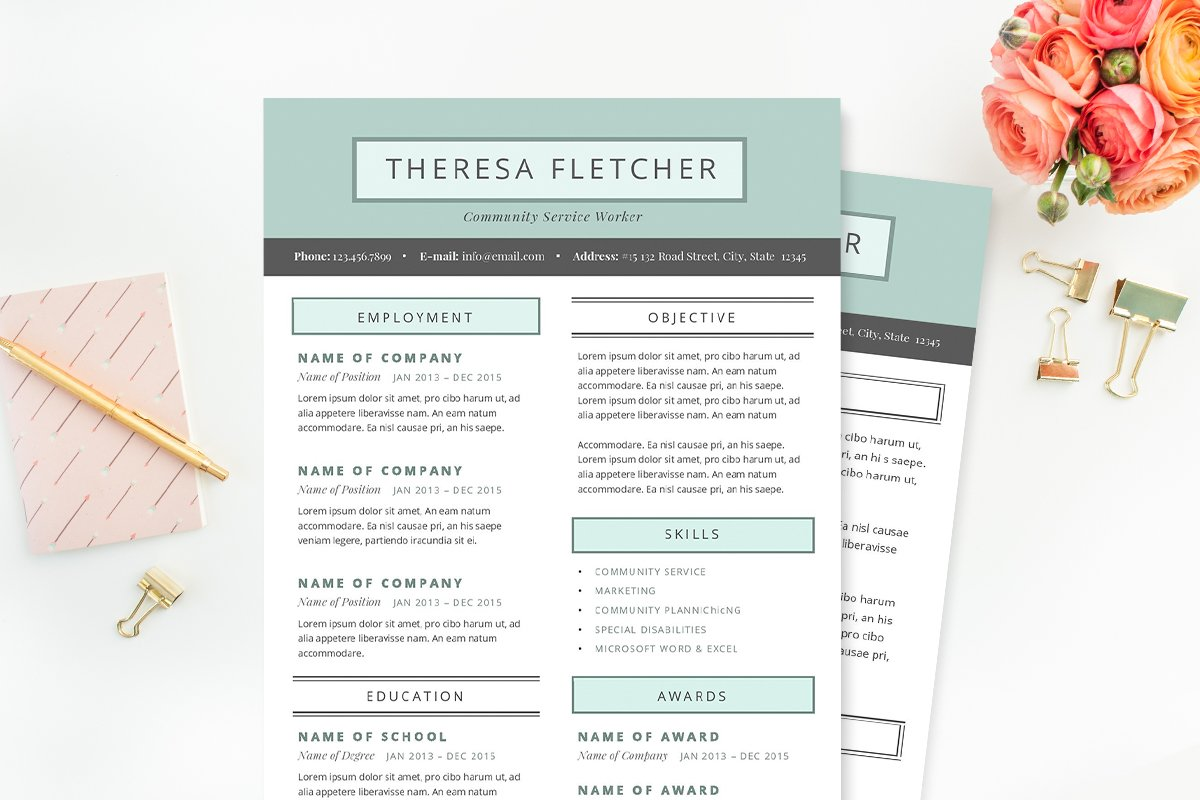 Chic Resume Template Package Templates Creative Market
