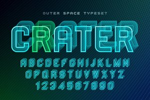 Crater futuristic vector decorative font design, alphabet