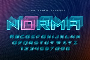 Norma futuristic vector decorative font design, alphabet